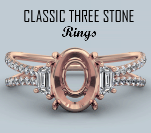 classic three stone semi mount