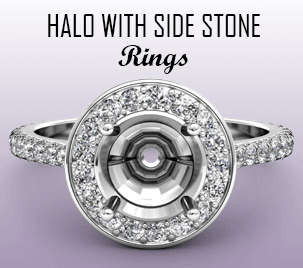 halo with side stone semi mount